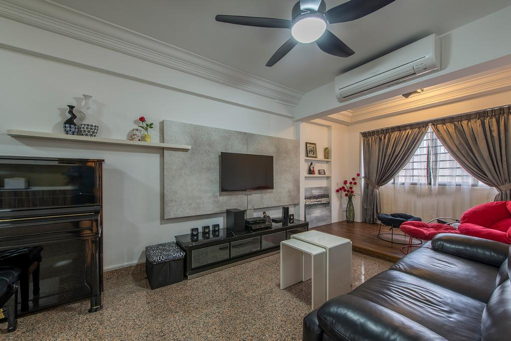 Contemporary, HDB, Living Room, Corporation Drive (Block 349), Interior Designer, Alpina Woody, Ceiling Fan With Lamp, Feature Wall, Tv Console, Tv Cabinet, Coffee Table, Extendable Table, Leather Sofa, Sofa, Wall Shelf, Shelves, Aircon, Piano