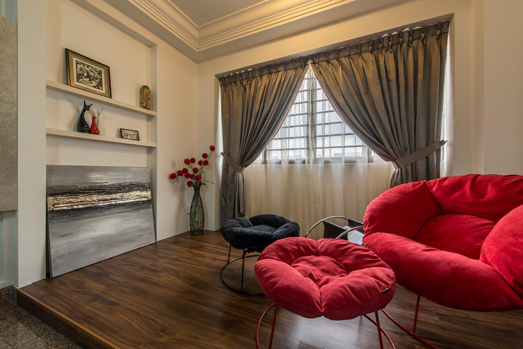 Contemporary, HDB, Living Room, Corporation Drive (Block 349), Interior Designer, Alpina Woody, Cosy, Relax, Lounge Chair, Stools, Comfy, Platform, Curtains, Wall Shelf, Shelves, Plant Decor, Plants, Painting, Red, Chairs