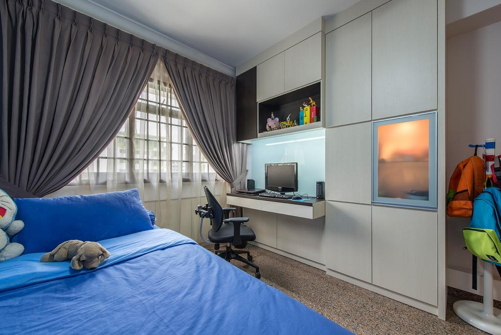 Contemporary, HDB, Bedroom, Corporation Drive (Block 349), Interior Designer, Alpina Woody, Curtains, Blue, Blue Bed, Study Table, Office Chair, Cabinetry, Cabinets, Shelves