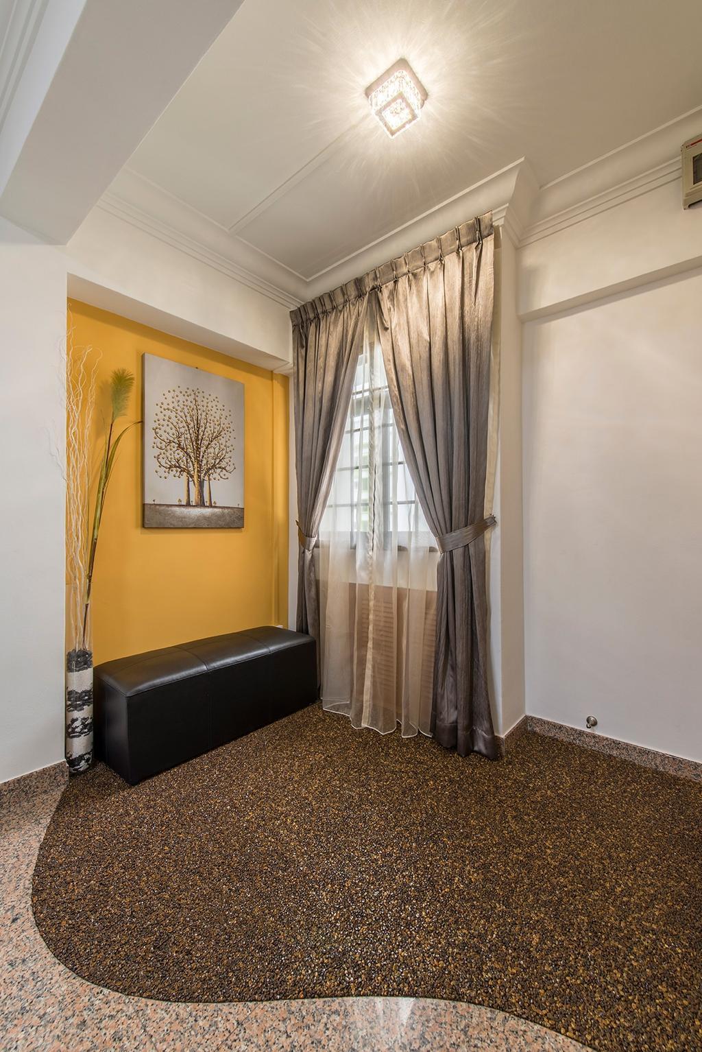 Contemporary, HDB, Living Room, Corporation Drive (Block 349), Interior Designer, Alpina Woody, Painting, , Yellow Walls, Bench, Curtains, Floor Tiles, Stone Tiles