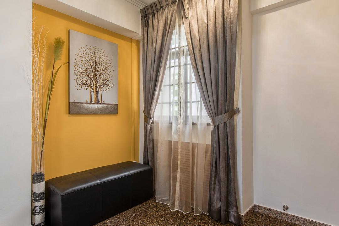 Corporation Drive (Block 349), Alpina Woody, Contemporary, Living Room, HDB, Painting, , Yellow Walls, Bench, Curtains, Floor Tiles, Stone Tiles