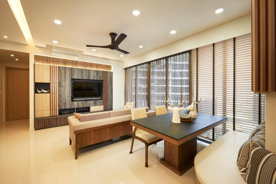 Boathouse Residences (Block 31), Unimax Creative, Contemporary, Living Room, Condo, White Venetian Blinds, Grey Feature Wall, Downl Ights, Black Spin Fan, Black Wood Dining Table, Marble Floor, Ettee