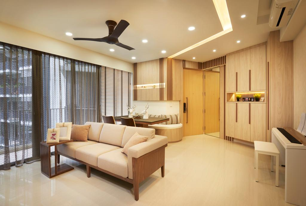 Contemporary, Condo, Living Room, Boathouse Residences (Block 31), Interior Designer, Unimax Creative, White Venetian Blinds, Down Lights, Black Spin Fan, Marble Floor, Wood Cabinets, Cove Lights, Black Spin Lights