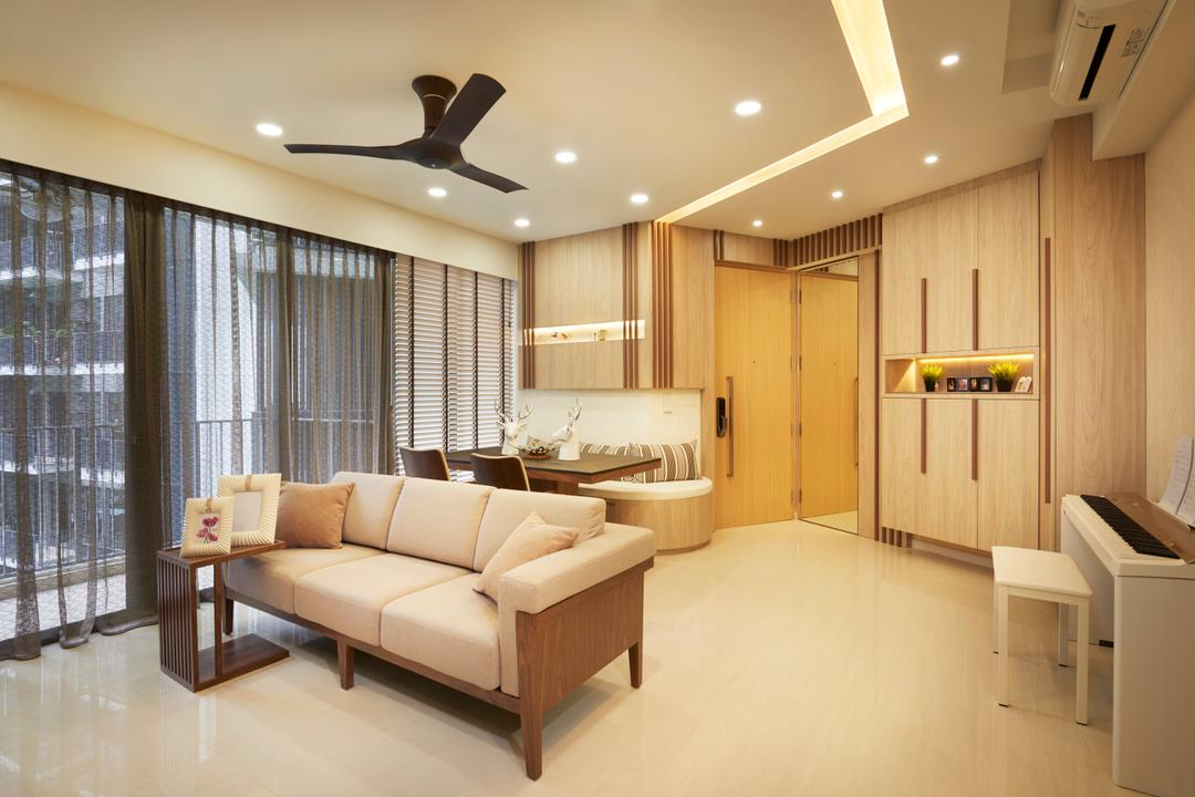 Boathouse Residences (Block 31), Unimax Creative, Contemporary, Living Room, Condo, White Venetian Blinds, Down Lights, Black Spin Fan, Marble Floor, Wood Cabinets, Cove Lights, Black Spin Lights