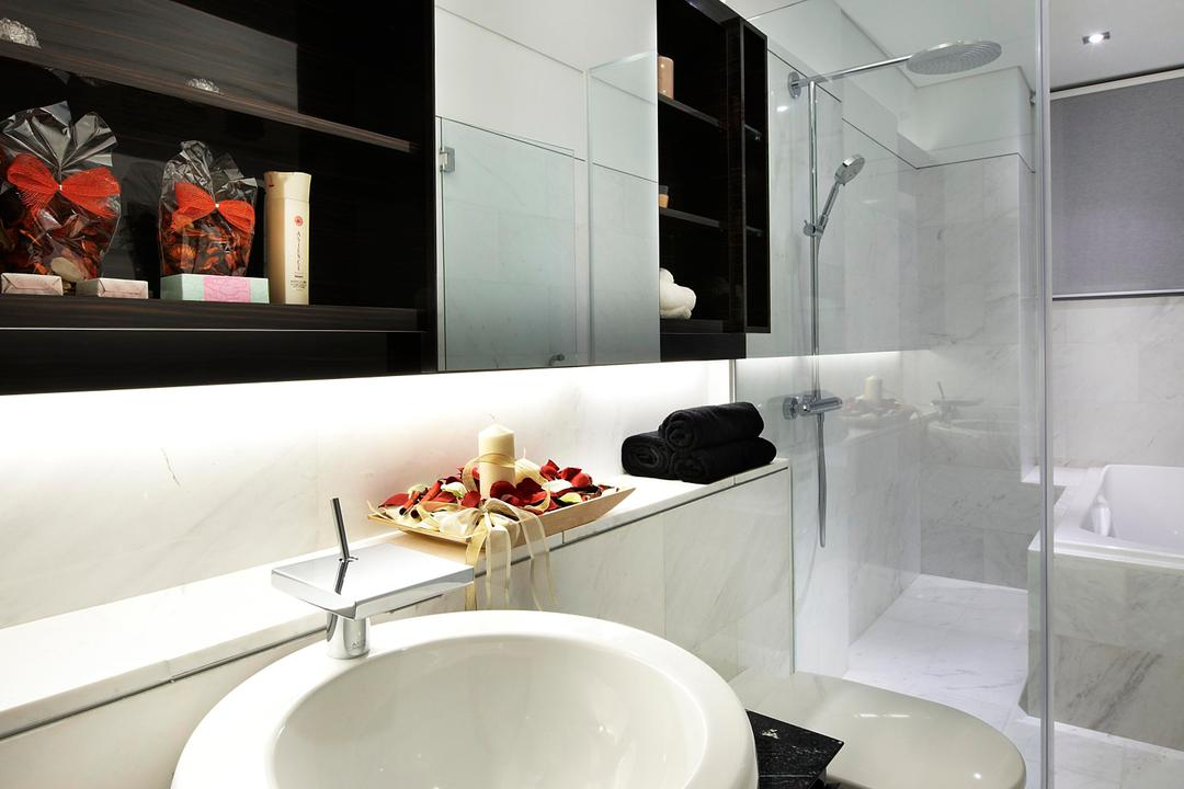 Radiance@Bukit Timah, Unimax Creative, Modern, Bathroom, Condo, Cove Lights, Oval Sink, Shower Screen, Sliding Cabinet