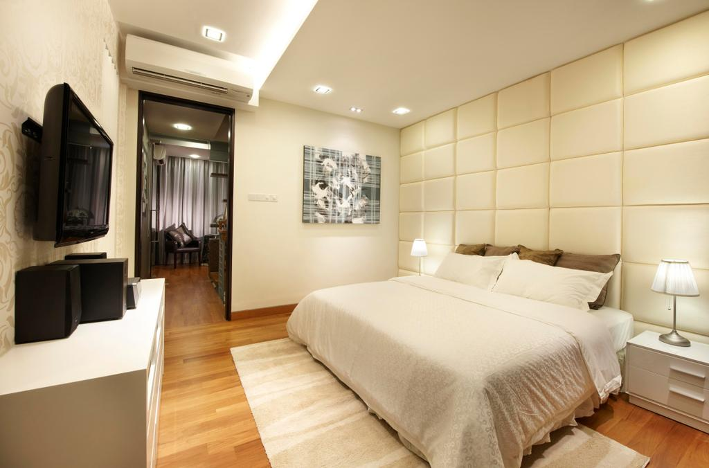 Modern, Condo, Bedroom, Radiance@Bukit Timah, Interior Designer, Unimax Creative, Quilted Headboard, Down Lights, Cove Lights, Parquet, White Tv Console, White Bedside Tbale, Bedside Lamp