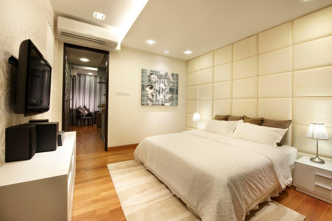 Radiance@Bukit Timah, Unimax Creative, Modern, Bedroom, Condo, Quilted Headboard, Down Lights, Cove Lights, Parquet, White Tv Console, White Bedside Tbale, Bedside Lamp
