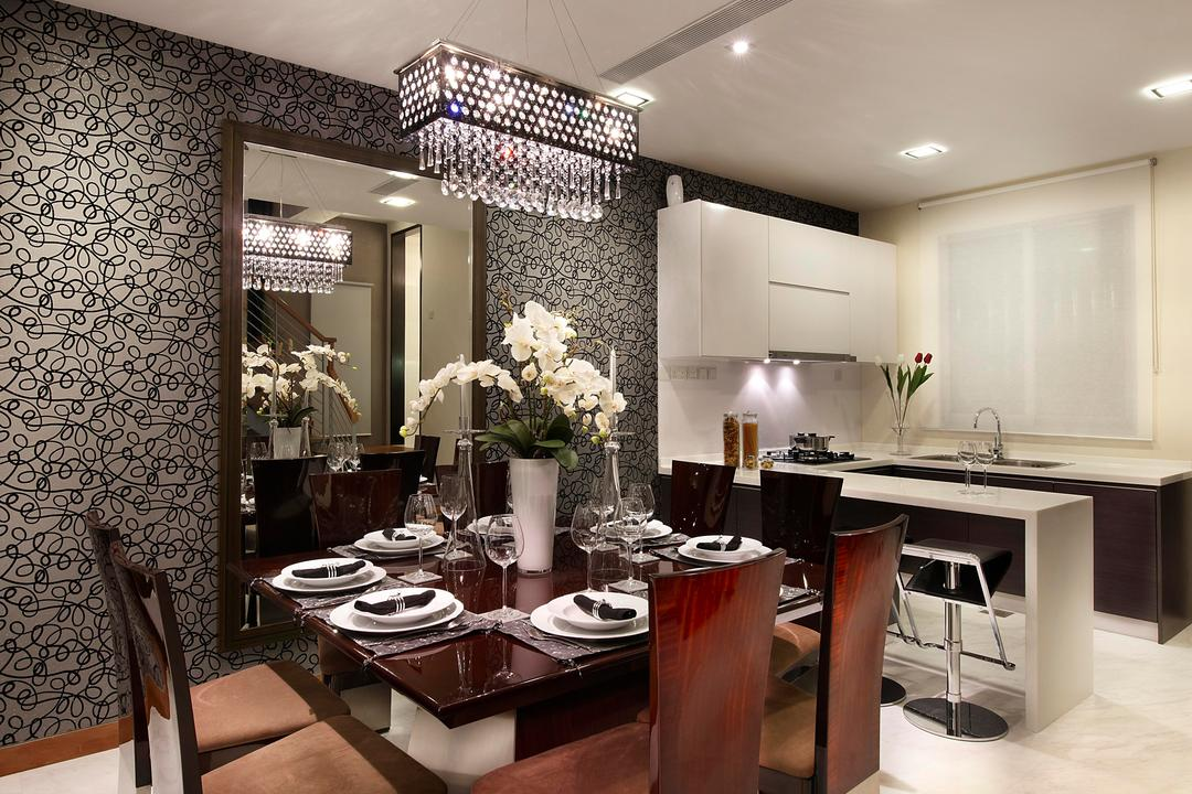 Radiance@Bukit Timah, Unimax Creative, Modern, Dining Room, Condo, Wall Paper, Dining Lights, Square Dining Chairs, White Roller Blinds, Downl Ights, Dry Kitchen, Island Table