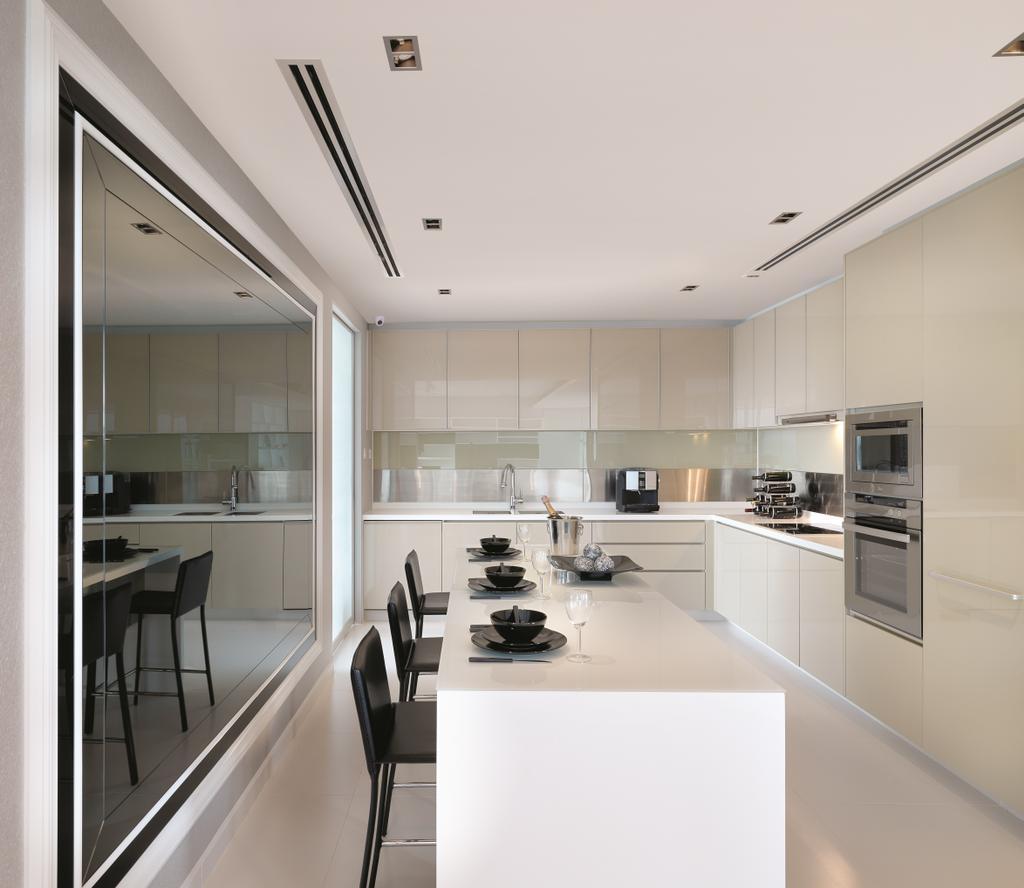 Modern, Condo, Kitchen, Sky@Eleven, Interior Designer, Unimax Creative, White, Cream Cabinets, Cream Drawers, Island Table, Black Chairs, Down Lights