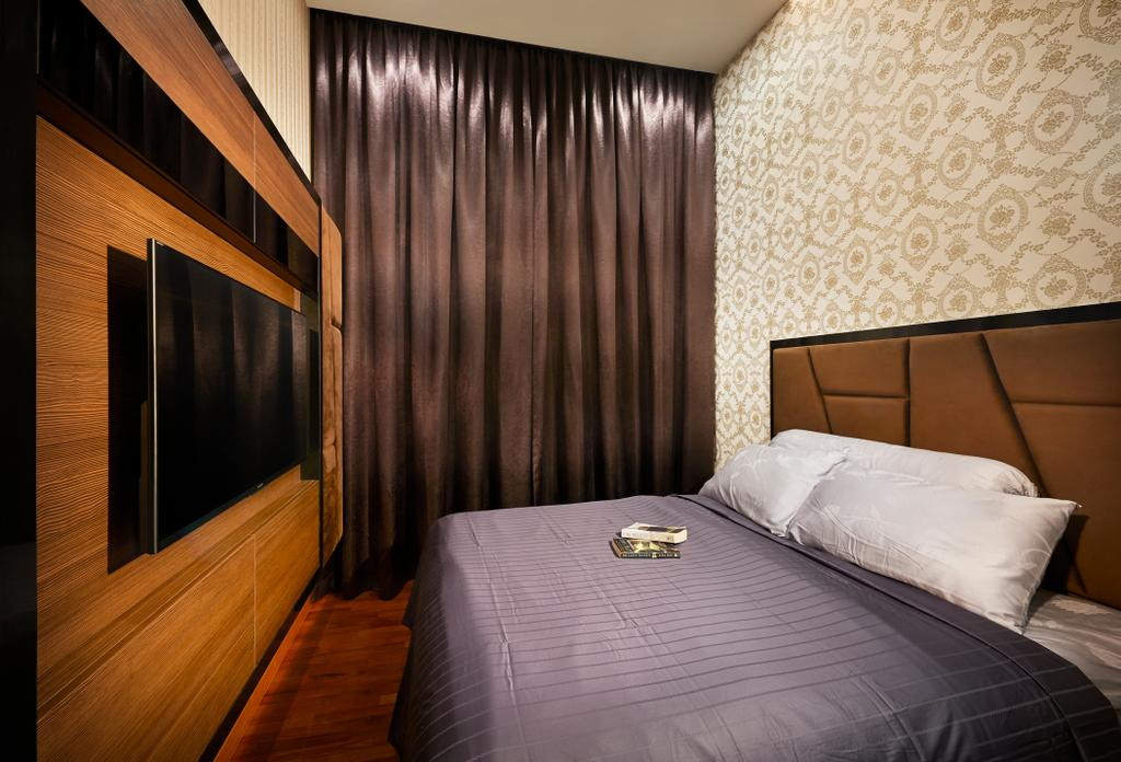 Contemporary, Condo, Bedroom, Twin Waterfall, Interior Designer, Unimax Creative, Cushion Head Board, Wood Feature Wall