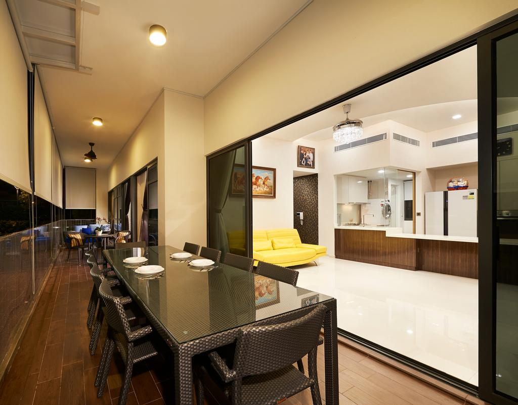 Contemporary, Condo, Balcony, Twin Waterfall, Interior Designer, Unimax Creative, Down Lights, Rattan Dining Table, Rattan Dining Chairs