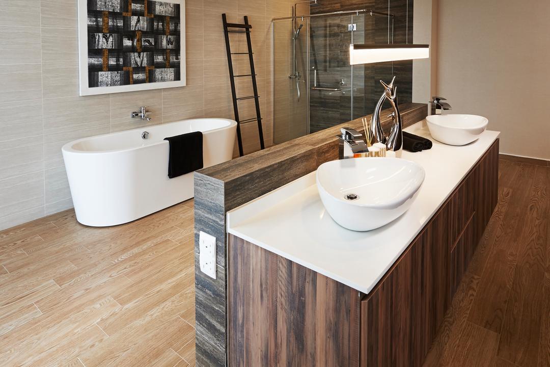44 Worthing Road, Unimax Creative, Modern, Bathroom, Landed, Wood Floor, Double Sink, Wood Cabinets, Bath Tub, Down Lights