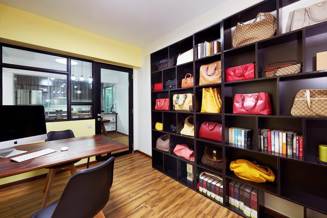 Macpherson Residency (Block 17A), Unimax Creative, Scandinavian, Study, HDB, Parquet, Wood Study Desk, Black Book Shelf