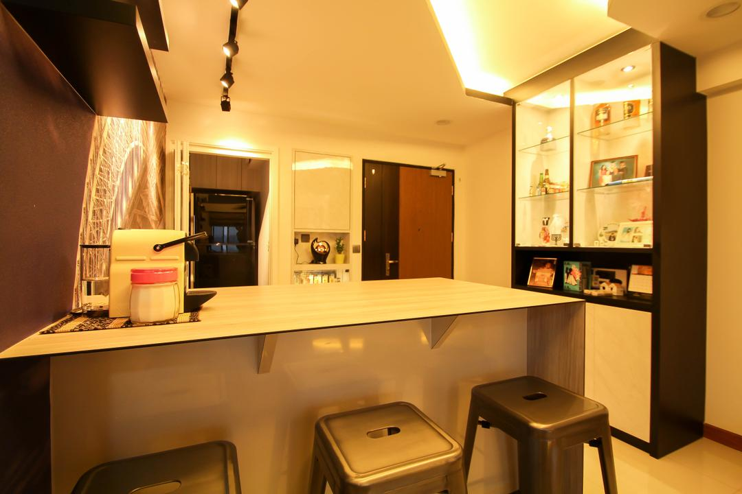 Anchorvale Crescent (Block 335B), Fifth Avenue Interior, Modern, Dining Room, HDB, Bar Top, Cove Lights, Dining Lights, Dining Area, Display Cabinets, Display Cabinet Lights, Glass Display Cabinets, Black And White Display Cabinets, Main Door, 2 Tone Door, Main Entrance