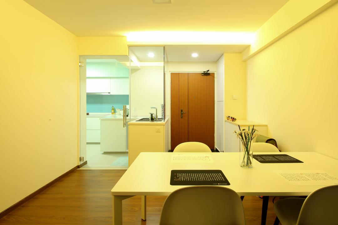 Sumang Link (Block 312), Fifth Avenue Interior, Modern, Eclectic, Dining Room, HDB, Spacious Design, Contemporary, Parquet, Parquet Floor, Wooden Floor, Main Door, Wooden Main Door, Door Hinge, Dining Table, Furniture, Table, Indoors, Room, Interior Design, Molding, Chair, Conference Room, Meeting Room