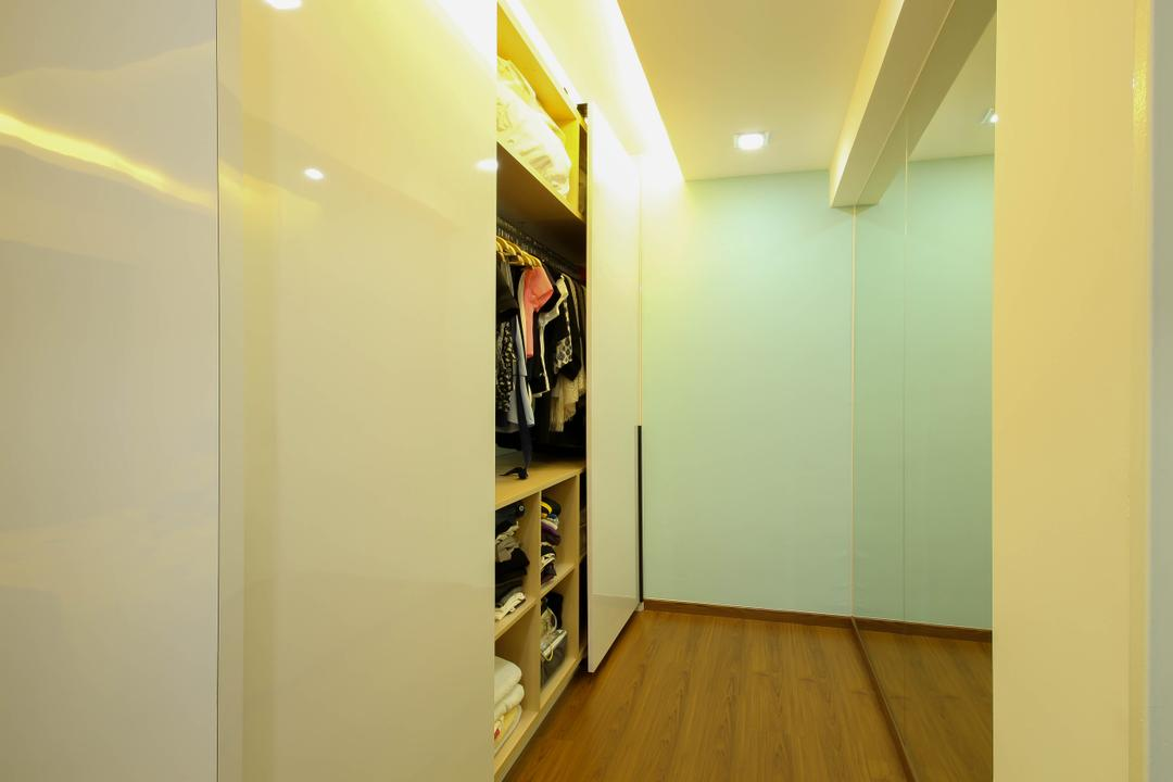 Sumang Link (Block 312), Fifth Avenue Interior, Modern, Eclectic, Bedroom, HDB, Wardrobe, White Wardrobe, Sliding Wardrobe, Parquet, Wooden Floor, Wooden Flooring, Glass Panels, Corridor