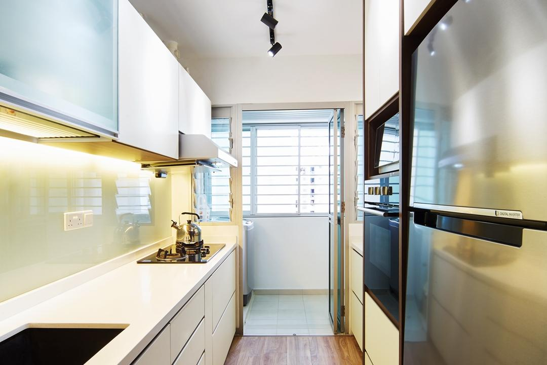 Fernvale Street ( Block 453D), The Local INN.terior 新家室, Contemporary, Minimalistic, Kitchen, HDB, Kitchen Design, Kitchen Idea, Fridge, Refreigerator, 2 Door Fridge, 2 Door Refridgerator, Kichen Floor, Kitchen Flooring, Kitchen Top, Table Top, White Table Top, Sink, Simple Kitchen, Kitchen Glass Backing, White Kitchen Glass Back, , White Glass Backing, Kitchen Lightings, Kitchen Lights, Indoors, Interior Design