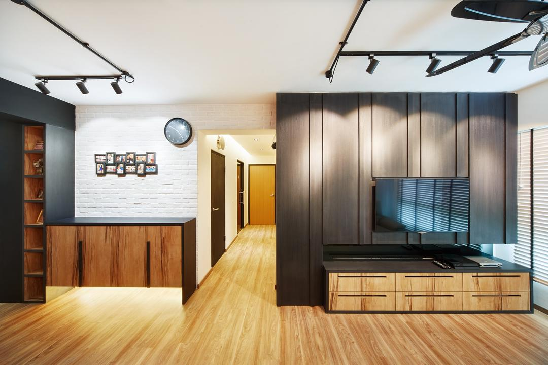 Fernvale Street ( Block 453D), The Local INN.terior 新家室, Contemporary, Minimalistic, Living Room, HDB, Living Room Idea, Living Room Design, Contemporary Living, Simple And Functional, Industrial Style, Industrial Lightings, Tracklights, Panels, Indoors, Interior Design, Flooring