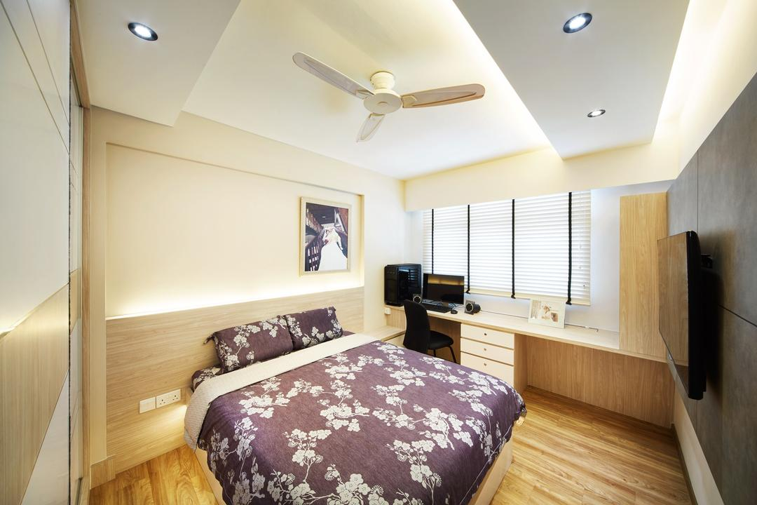 Fernvale Street ( Block 453D), The Local INN.terior 新家室, Contemporary, Minimalistic, Bedroom, HDB, White Ceilng Fan, Ceiling Fan, Bed, Bedroom Ideas, Bedroom Space, Bedroom Design, Simple Bedroom, Simple, Bedroom Tv Console, , Bedroom Feature Wall, White Wardrobe, Wardrobe, Room Wardrobe, Bedroom Carpentry, Bedroom Lights, Parquet, Wooden Flooring, Bedsheet, Indoors, Interior Design, Room, Furniture