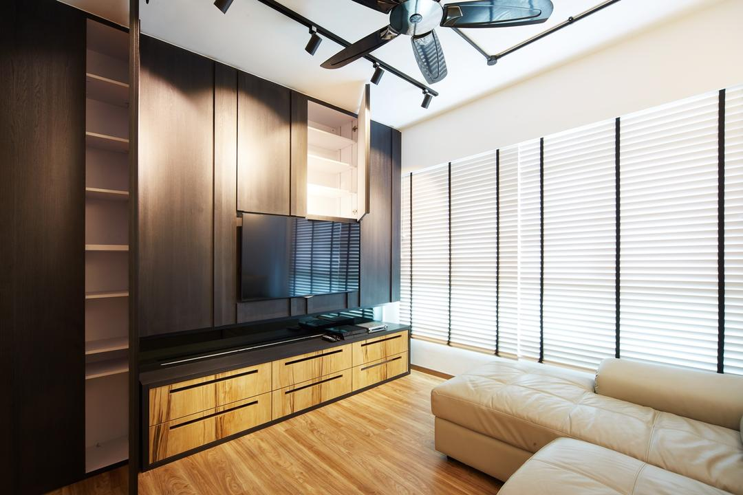 Fernvale Street ( Block 453D), The Local INN.terior 新家室, Contemporary, Minimalistic, Living Room, HDB, Tv Console Storage, Feature Wall Storage, Sofa, White Sofa, Sectional, Sectional Sofa, Indoors, Interior Design