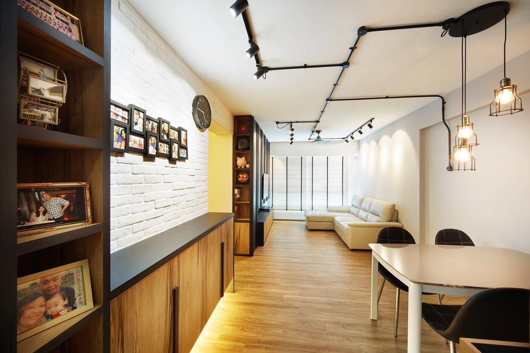 Fernvale Street ( Block 453D), The Local INN.terior 新家室, Contemporary, Minimalistic, Dining Room, HDB, Dining Room Idea, Dining Room Design, Spacious, Simple And Spacious, Craftstone, White Craftstone, Craftstone Wall, Dining Carpentry, Dining Table, Dining Chair, Picture Frames, Clock, Black Clock, Industrial Style, Living And Dining, Wooden Flooring, Parquet Flooring, Veneer Flooring, Parquet, Veneer, Wooden, Bookcase, Furniture, Indoors, Interior Design, Room, Chair, Table