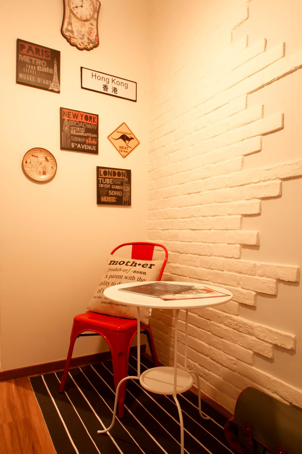 Industrial, HDB, Living Room, Pasir Ris (Block 526C), Interior Designer, Fifth Avenue Interior, Wall Arts, Crafstone, Feature Wall, Craftstone Wall, Picture Frames, Red Chair, White Table, Resting Corner, Rest Corner, Stripe Rug, Striped Rug, Black And White Rug
