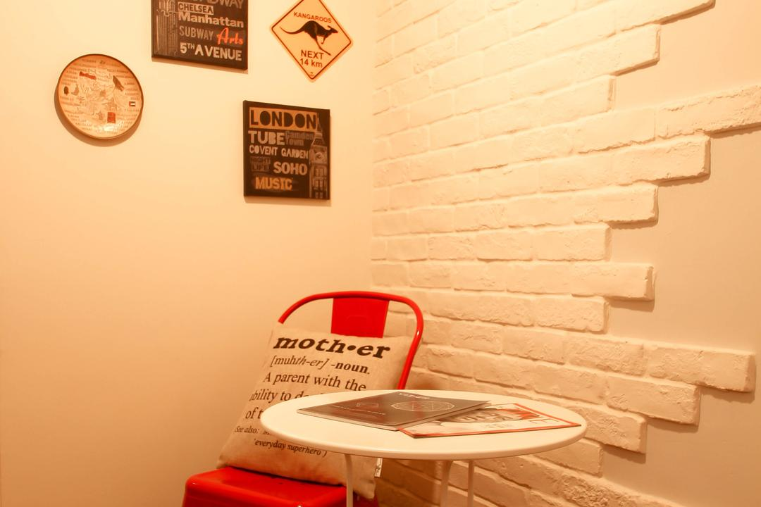 Pasir Ris (Block 526C), Fifth Avenue Interior, Industrial, Living Room, HDB, Wall Arts, Crafstone, Feature Wall, Craftstone Wall, Picture Frames, Red Chair, White Table, Resting Corner, Rest Corner, Stripe Rug, Striped Rug, Black And White Rug