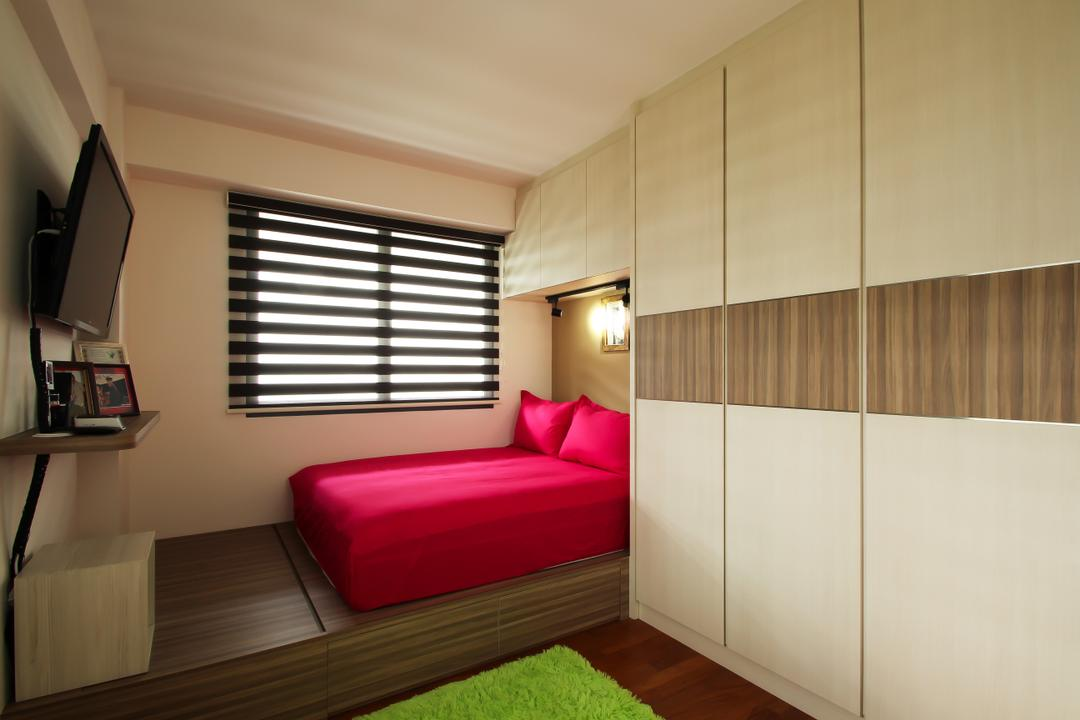 Punggol Walk (Block 310B), Fifth Avenue Interior, Industrial, Scandinavian, Bedroom, HDB, Bedroom Design, Bedroom Ideas, Bedroom Concepts, Bedroom Concept, Platform Bed, Platform Storage Bed, Storage Bed, Green Rug, Simple And Functional, Minimalist Bedroom, Minimalist, Wardrobe, 2 Tones Wardrobe, 2 Tone Wardrobe, Bed, Red Bed, Red Bedsheet, Red Pillow, Red Pillow Casings, Pillows, Red Pillows, Bedroom Lights, Bedroom Blinds, Banister, Handrail, Staircase, Indoors, Interior Design, Furniture