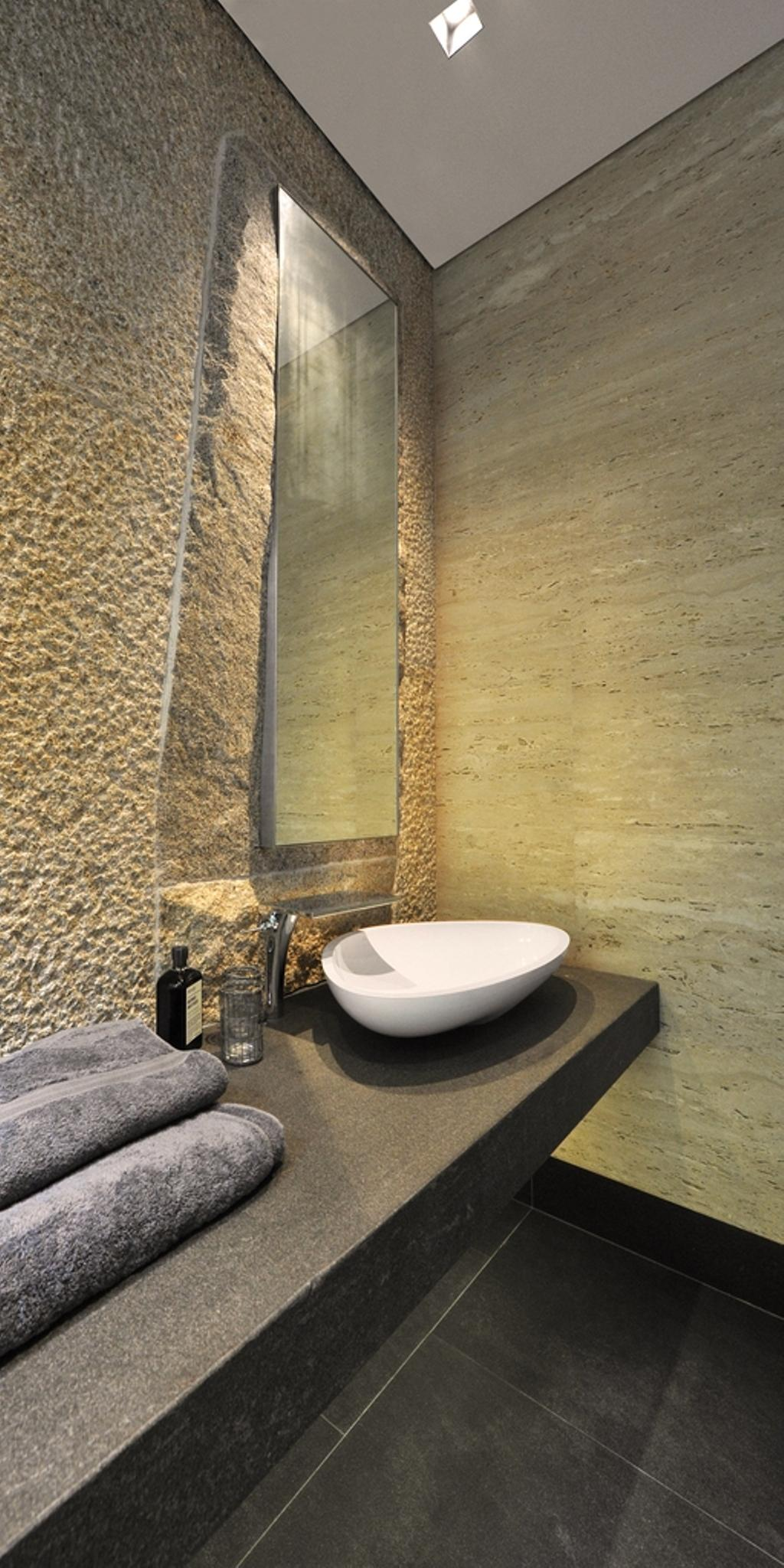 Modern, Landed, Bathroom, 66 WTR, Architect, BHATCH Architects, Resort, Stone Wall, Raw, Mirror, Vessel Sink, Bathroom Counter, Tile, Tiles, Stacco Wall, Toilet