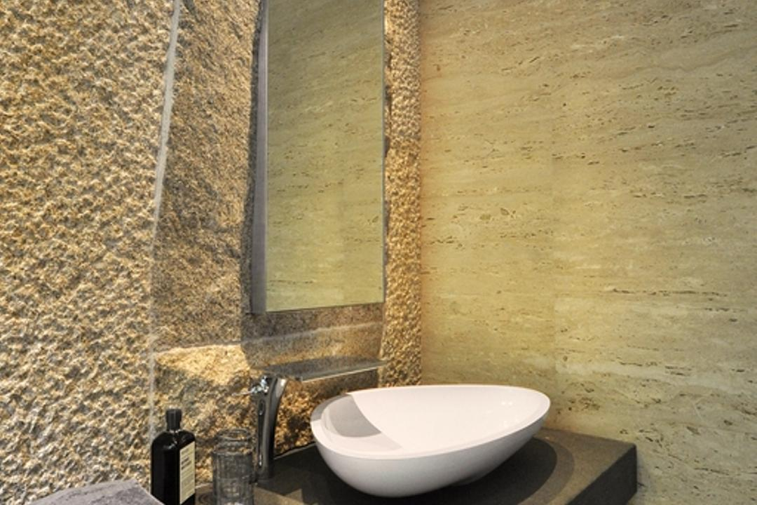 66 WTR, BHATCH Architects, Modern, Bathroom, Landed, Resort, Stone Wall, Raw, Mirror, Vessel Sink, Bathroom Counter, Tile, Tiles, Stacco Wall, Toilet