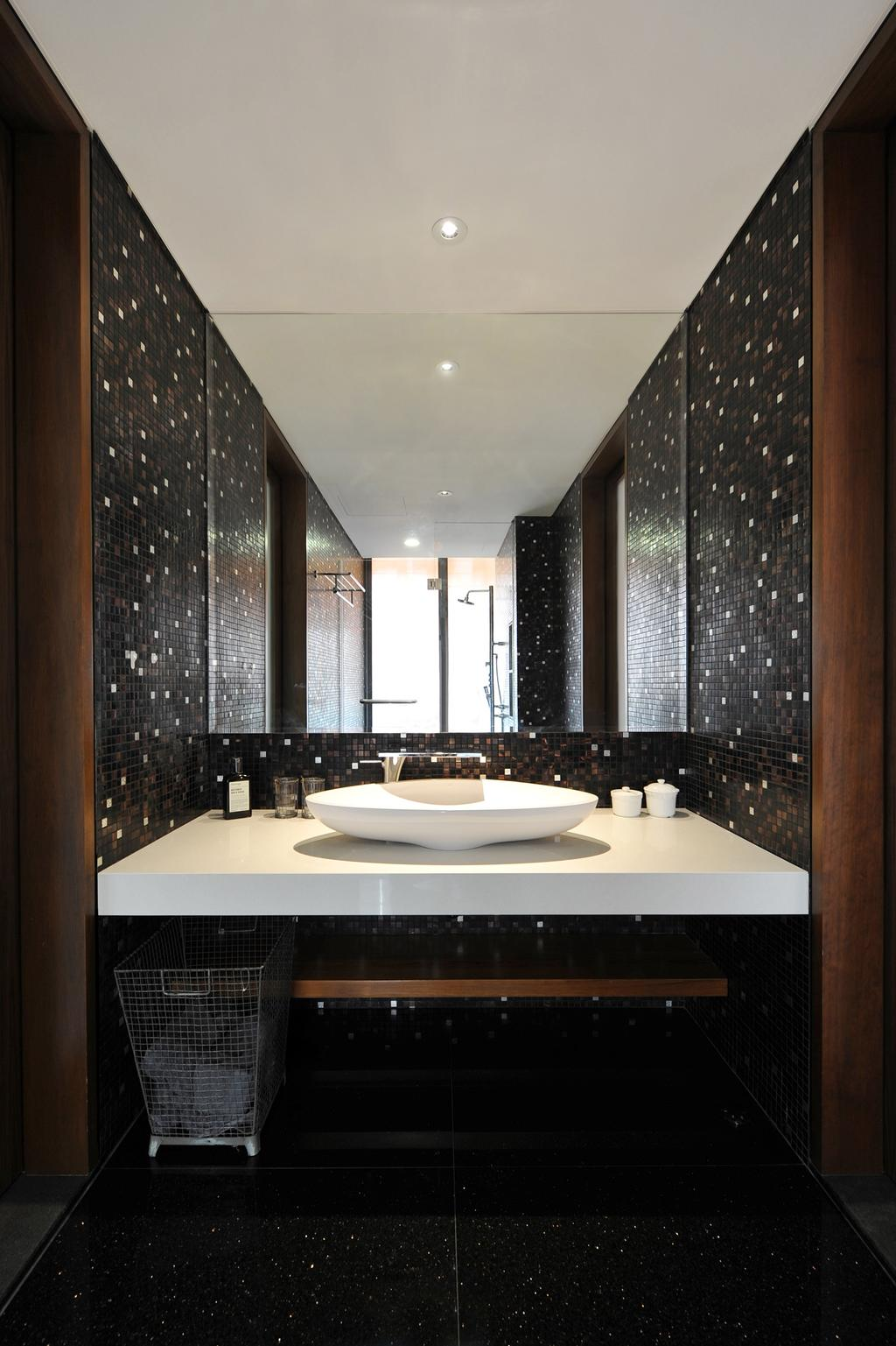 Modern, Landed, Bathroom, 66 WTR, Architect, BHATCH Architects, Mosaic Tiles, Mosaic, Mirror, Black, Vessel Sink, Bin, Bathroom Counter, Indoors, Interior Design, Room