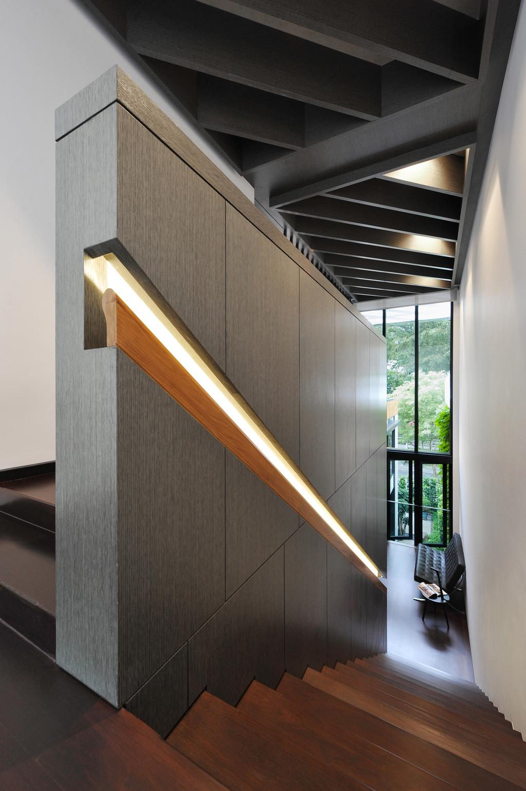 Modern, Landed, 66 WTR, Architect, BHATCH Architects, Stairs, Staircase, Handrails, Recessed Lighting, Indented Lighting, Tile, Tiles, Gray, High Ceiling, Full Length Windows, Sofa, Quilted, Glass Doors