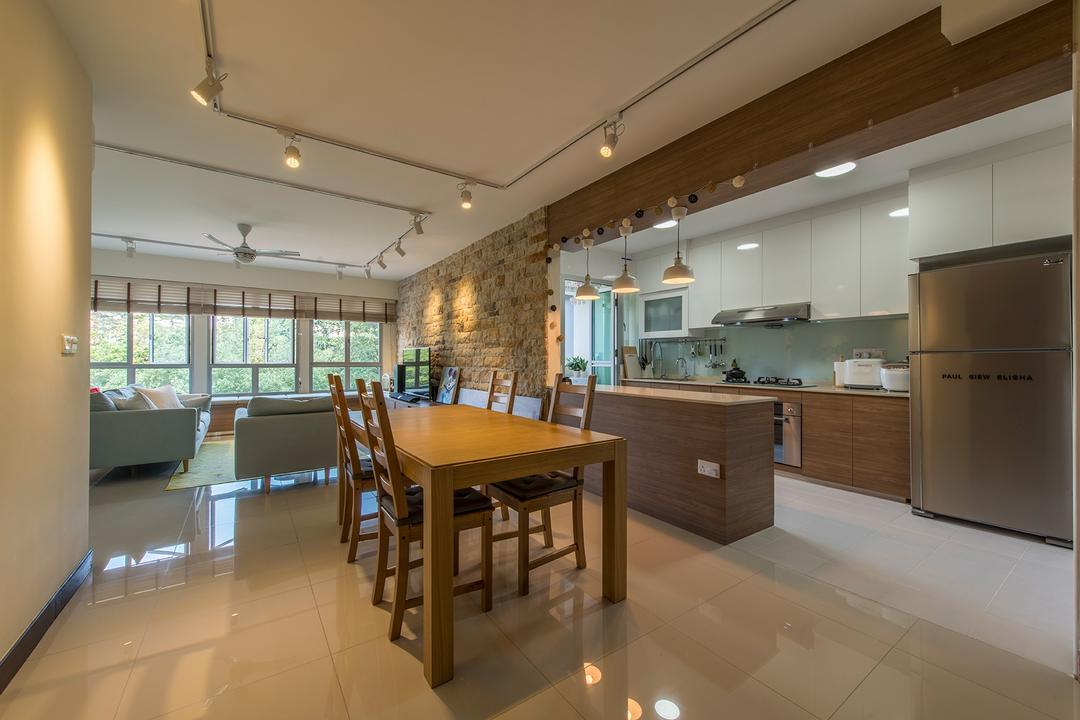 Fernvale Link (Block 415C), The Two Big Guys, Scandinavian, Dining Room, HDB, Dining Table, , Chairs, Track Lights, White Track Lights, Pendant Lamp, Hanging Lamp, Kitchen Countertop, Open Concept Kitchen, Hacked Wall, Refrigerator, Kitchen Cabinetry, Brown Laminates, Furniture, Table