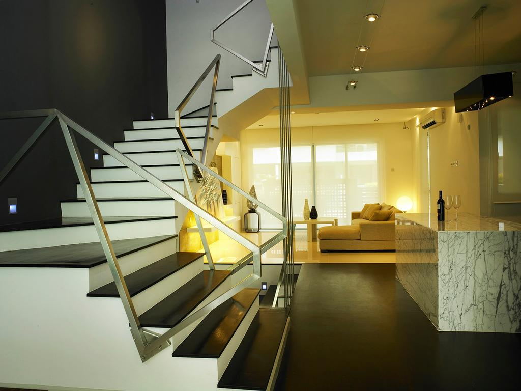Modern, Landed, Living Room, The Peak, Interior Designer, The Grid Studio, Banister, Handrail, Staircase