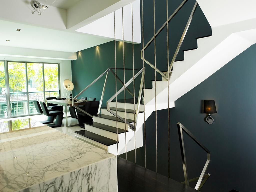 Modern, Landed, Dining Room, The Peak, Interior Designer, The Grid Studio, Banister, Handrail, Staircase