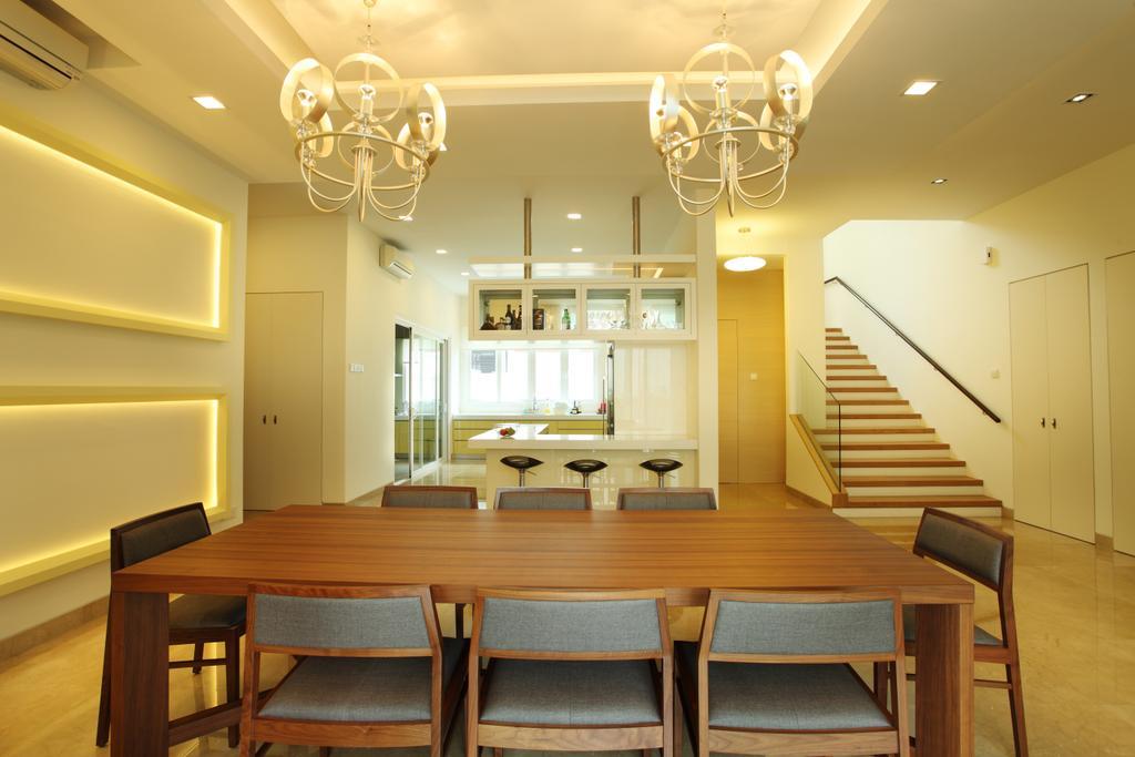 Minimalistic, Landed, Dining Room, The Residence, Mont Kiara, Interior Designer, The Grid Studio, Indoors, Interior Design, Room, Dining Table, Furniture, Table, Bar Stool, Chair