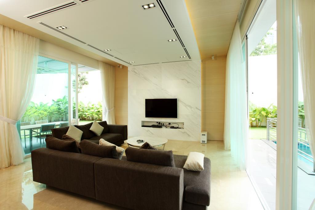 Minimalistic, Landed, Living Room, The Residence, Mont Kiara, Interior Designer, The Grid Studio, Couch, Furniture, Indoors, Interior Design