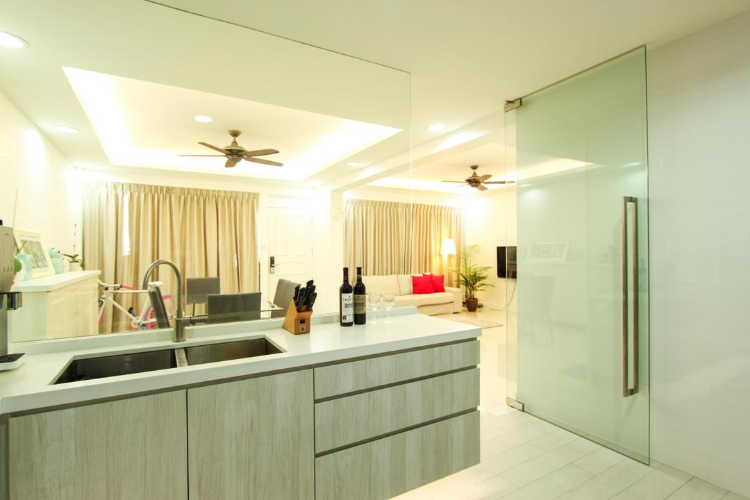 Yishun, 4mation ID, Modern, Kitchen, HDB, Kitchen Sink, Big Kitchen Sink, White Kitchen Top, Kitchen Top, White And Grey Kitchen, Simple And Functional Kitchen, Conte, Contemporary, Contemporary Kitchen, Tap, Si K Tap, Kitchen Sink Tap, Kitchen Drawers, Kitchen Carpentry, Kitchen Cabinets