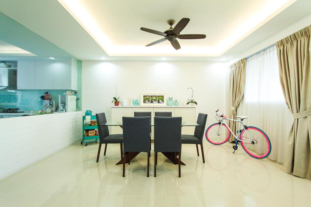 Modern, HDB, Dining Room, Yishun, Interior Designer, 4mation ID, Simple Dining, Simple Dining Area, Simple Dining Set, Spacious Dining, Bright Ans Spacious, Bright And Spacious Dining, Dining Design, Dining Concept, Dining Area Design, Dining Idea, Dining Room Idea, Dining Table, Dining Chairs, Dining Set, Bicycle, Curtains, Day And Night Curtains, Open Concept Kitchen, Ceiling Fan, Black Ceiling Fan