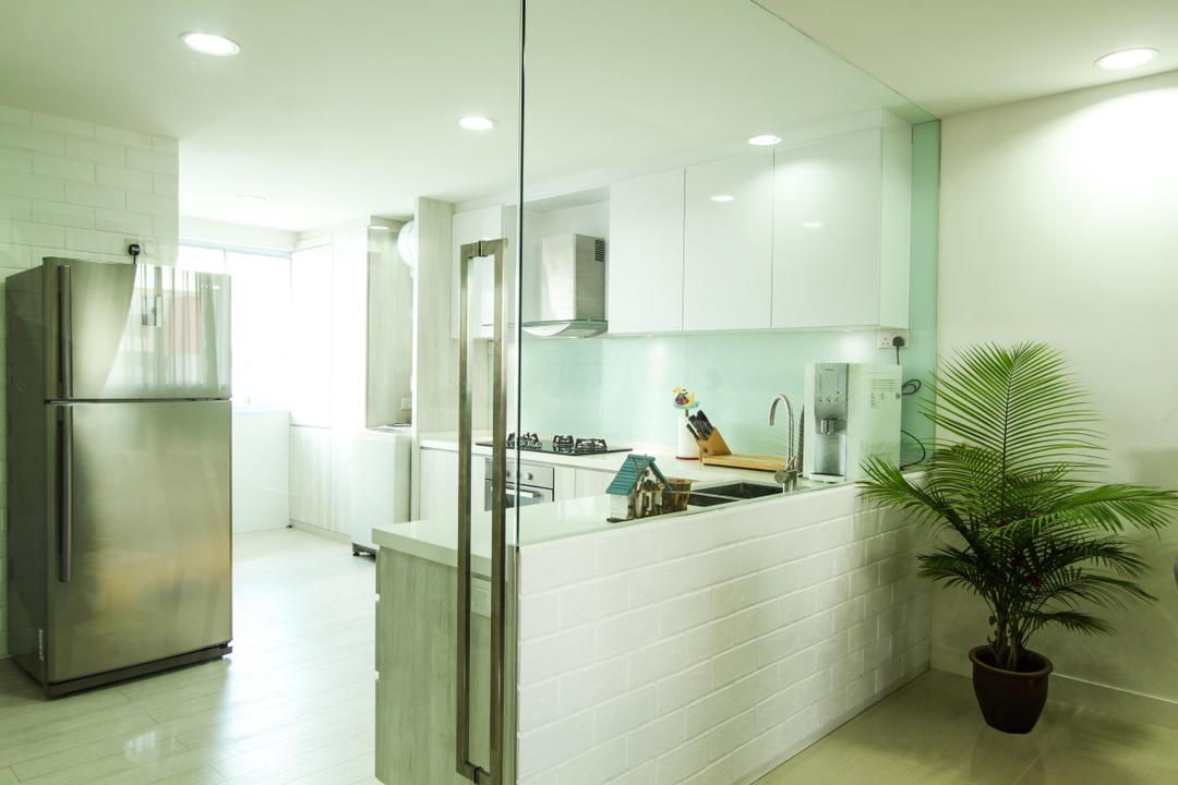 Yishun, 4mation ID, Modern, Kitchen, HDB, Kitchen Design, Kitchen Concept, Kitchen Idea, Kitchen Glass, Glass, Glass Panel, See Through Kitchen, Entrance, Kitchen Entrance, Entrance Door, Entrance Glass Door, Kitchen Glass Door, Big Kitchen Glass Door, Refrigerator, Fridge, 2 Door Fridge, Spacious And Bright, White And Grey, White And Grey Kitchen, Contemporary Kitchen, Spacious And Bright Kitchen