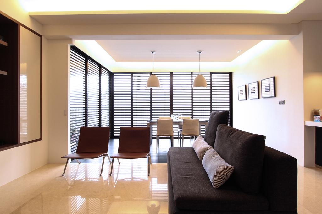 Modern, Condo, Living Room, St Patrick's Residences, Interior Designer, 4mation ID, Sofa, Black Sofa, Fabric Sofa, Black Fabric Sofa, Grey Cushions, Sectionals, Sectional Sofa, Living And Dining, Picture Frames, Chairs