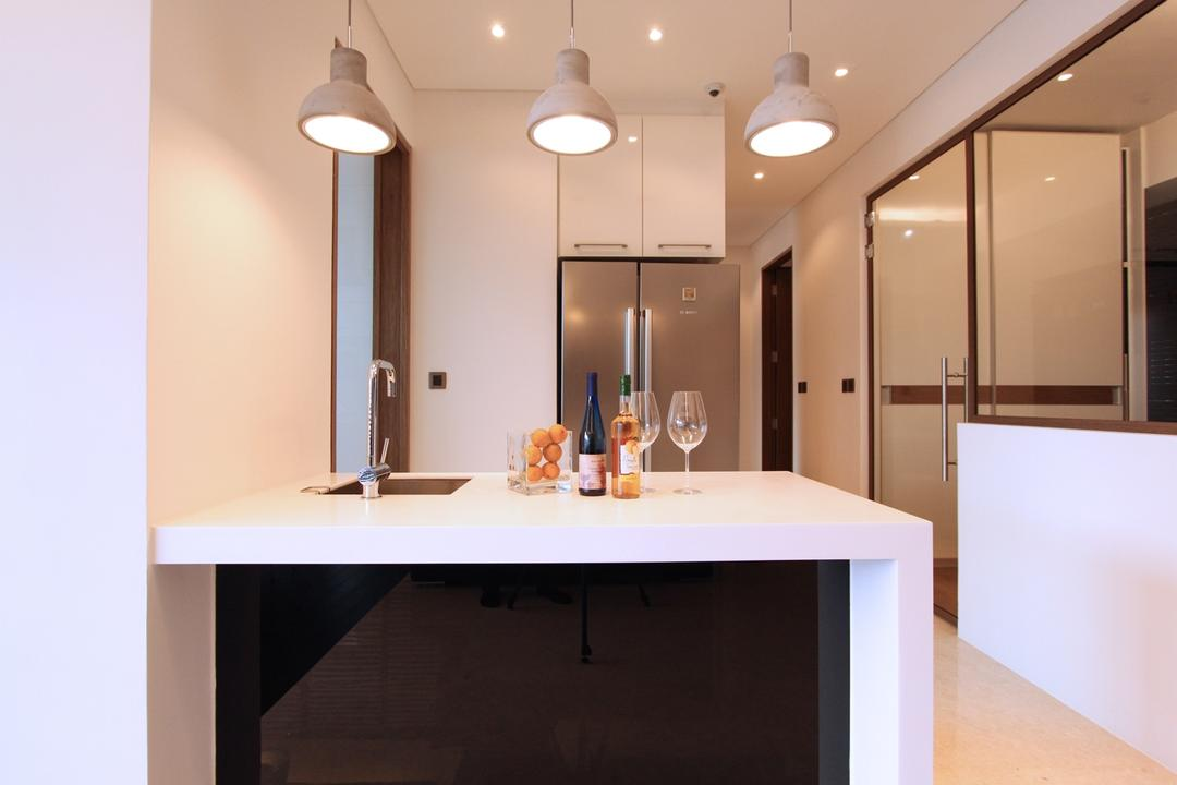 St Patrick's Residences, 4mation ID, Modern, Kitchen, Condo, Dry Kitchen, , Open Concept Kitchen, White Table Top, Bar Top, Dry Kitchen Sink, Fridge, Refrigerator, White Cabinets, Cabinets, Kitchen Cabinets, Pendant Lights, Spacious Kitchen