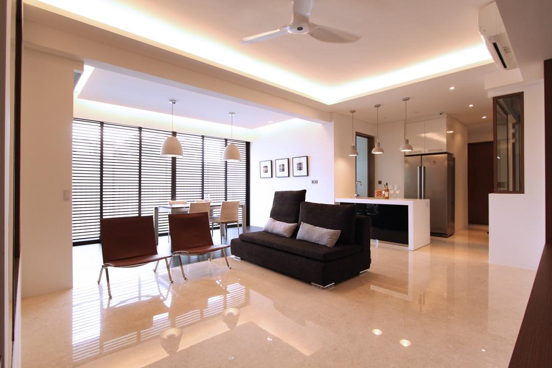 St Patrick's Residences, 4mation ID, Modern, Living Room, Condo, Living Room Idea, Living Room Design, Living Room Concept, Spacious Living, Bright And Spacious, Simple And Functional, Ceiling Fan, White Ceiling Fan, False Ceiling, Pendant Lights, Cove Lights, White Walls, Light Color Tiles, Beige Tiles, , Contemporary, Open Concept