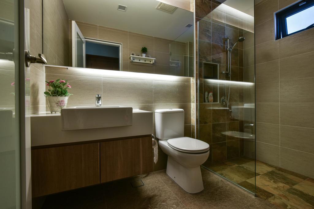 Modern, Landed, Bathroom, Sierra Damansara, Interior Designer, Surface R Sdn. Bhd., Flora, Jar, Plant, Potted Plant, Pottery, Vase, Toilet, Indoors, Interior Design, Room