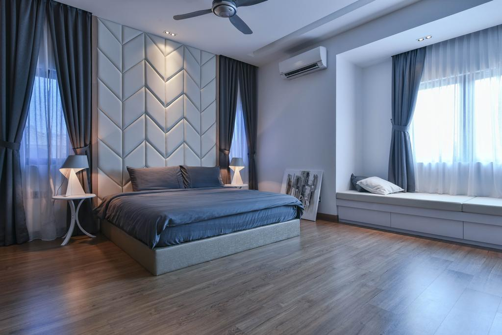 Modern, Landed, Bedroom, Sierra Damansara, Interior Designer, Surface R Sdn. Bhd., Bed, Furniture, Hardwood, Wood, Indoors, Interior Design, Room