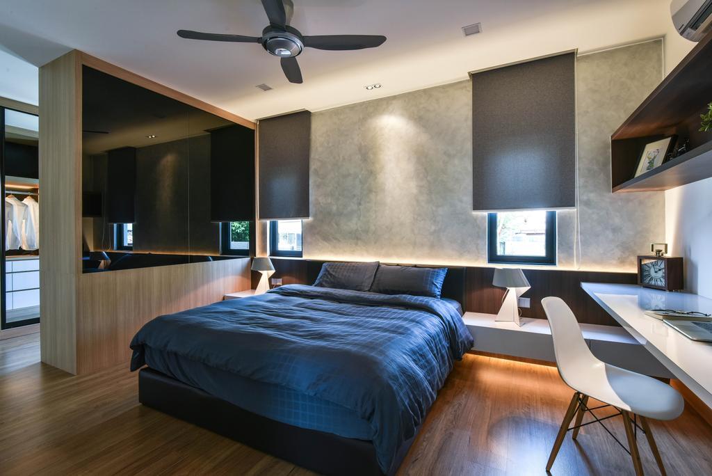 Modern, Landed, Bedroom, Sierra Damansara, Interior Designer, Surface R Sdn. Bhd., Sink, Chair, Furniture, Bed, Indoors, Interior Design, Room