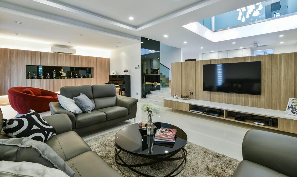 Modern, Landed, Living Room, Sierra Damansara, Interior Designer, Surface R Sdn. Bhd., Couch, Furniture, Indoors, Room
