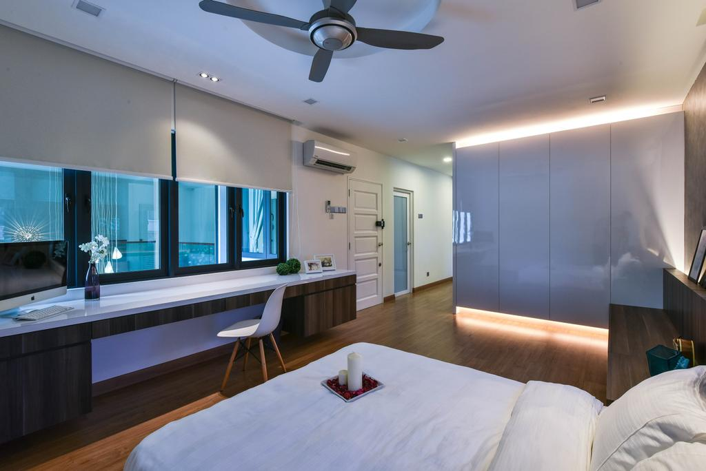 Modern, Landed, Bedroom, Sierra Damansara, Interior Designer, Surface R Sdn. Bhd., Bed, Furniture, Indoors, Room, Propeller