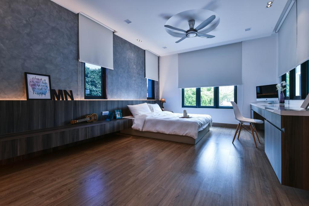 Modern, Landed, Bedroom, Sierra Damansara, Interior Designer, Surface R Sdn. Bhd., Hardwood, Wood