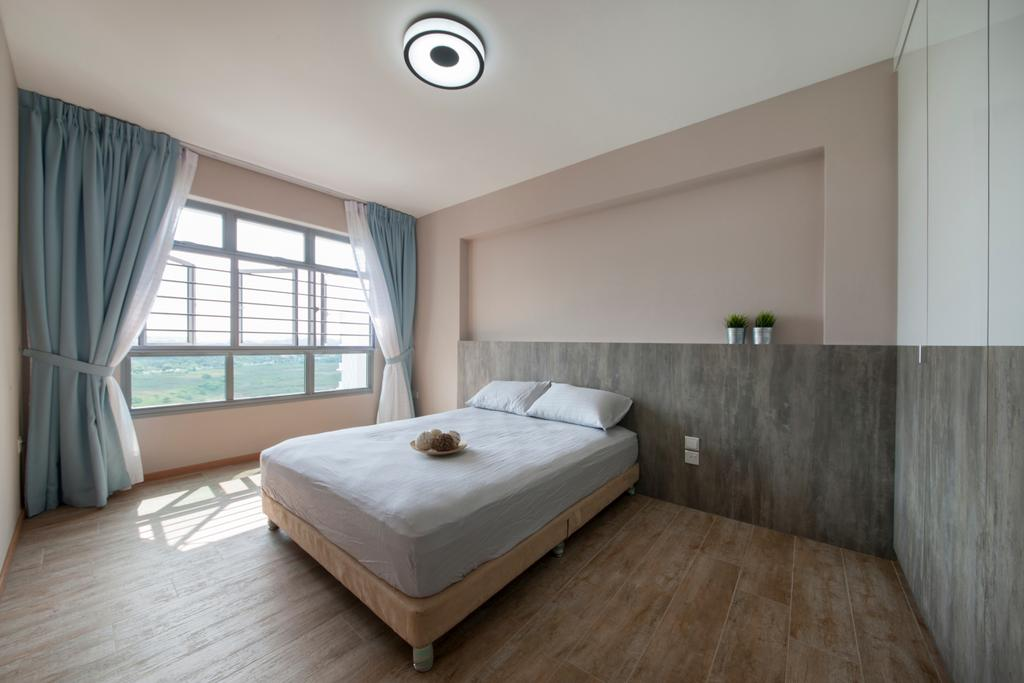 Minimalistic, HDB, Bedroom, Upper Serangoon View, Interior Designer, M3 Studio, Rustic, Dark Wood, Curtains, Blue Curtains, Wood Floor, Woody, Wooden Flooring, Airy, Indoors, Interior Design, Room